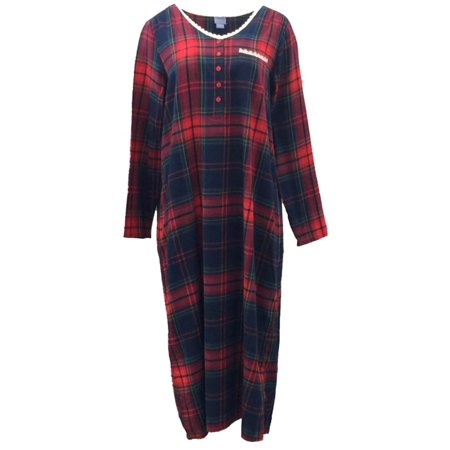 Laura Scott Laura Scott Womens Red Plaid Flannel Nightgown Sleep
