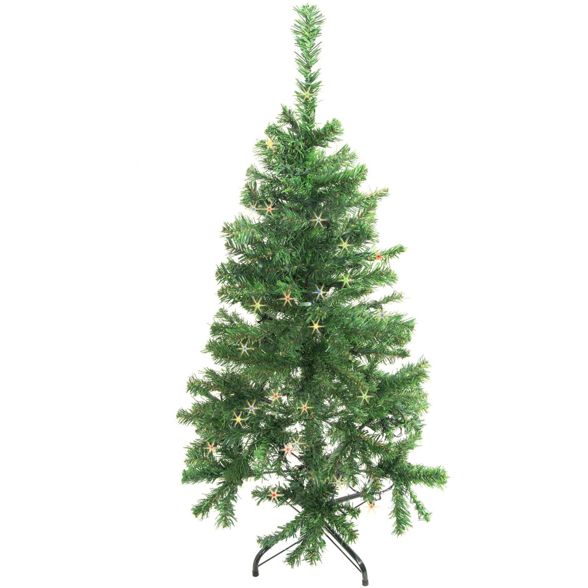 ALEKO CT48H50MC Pre-Lit Artificial Christmas Tree, 4', Green Tree with Multi-Color Lights