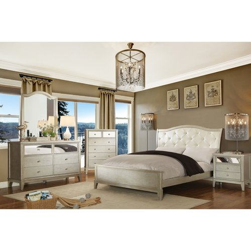 Furniture of America Malayah Contemporary Style 4-Piece Silver Bedroom Set, Multiple Sizes by Furniture of America