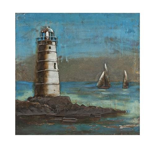 """31.5"""" Hand Painted Lighthouse Three-Dimensional Metal Wall Art"""