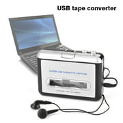 Moksha cassette to mp3 converter,USB Cassette Tape to PC MP3 CD Switcher Converter Capture Audio Music Player with Headphones, cassette player