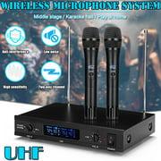 Bigsalestore-Wireless Microphone System Dynamic 2 Channel Handheld Mic Karaoke Pro Audio UHF