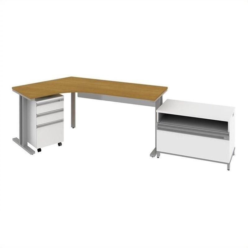 Bush BBF Momentum  Left Desk with Storage in Natural Maple