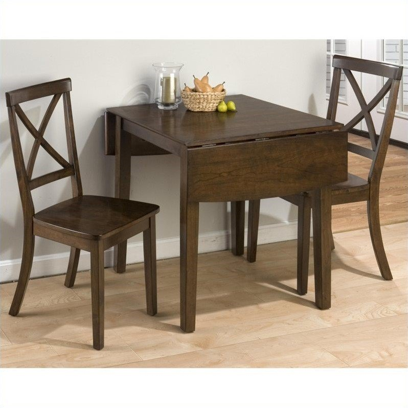 Jofran 3 Piece Drop Leaf X Back Dining Room Set in Taylor Cherry by Jofran