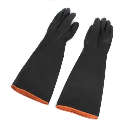 51cm Long Rubber Industry Anti Acid Alkali Gloves Black Pair