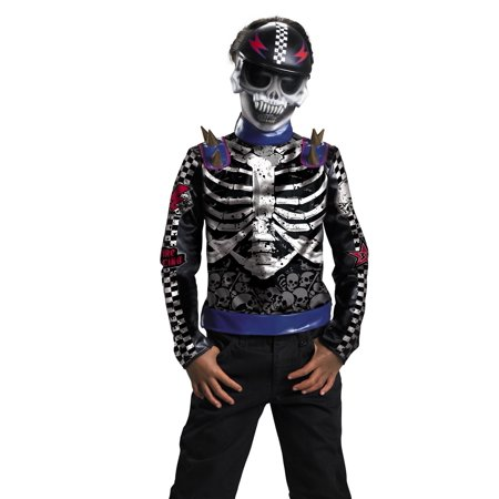 Disguise Boys Skeleton Skater Skull Biker Kids Halloween Costume