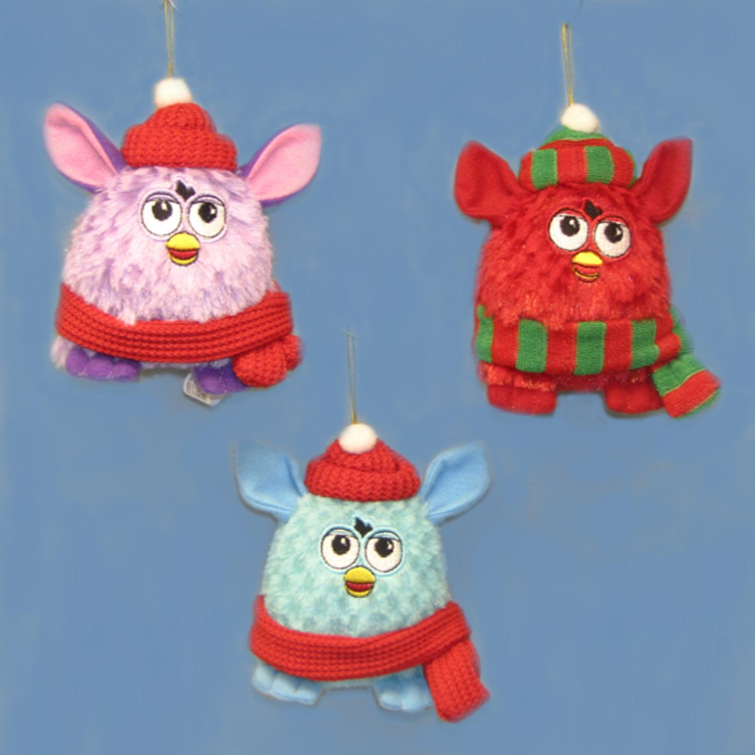 12 Red, Blue and Purple Furby with Scarves and Hats Christmas Ornaments 3.5""