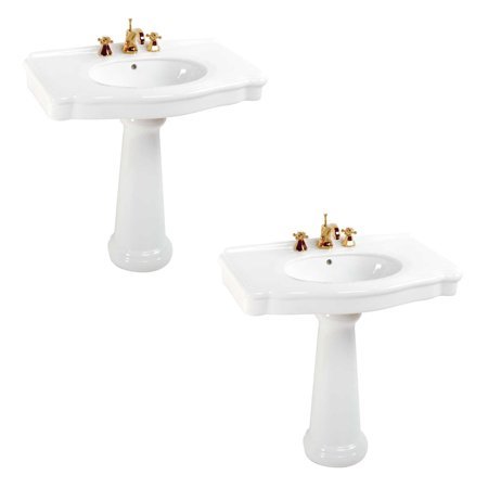 Renovators Supply White China Wide Pedestal Sink Widespread Faucet Holes Set of (Widespread Sink Set)