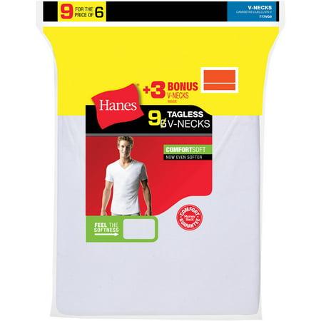 Hanes Mens Comfortsoft White V Neck T Shirt 6   3 Free Bonus Pack