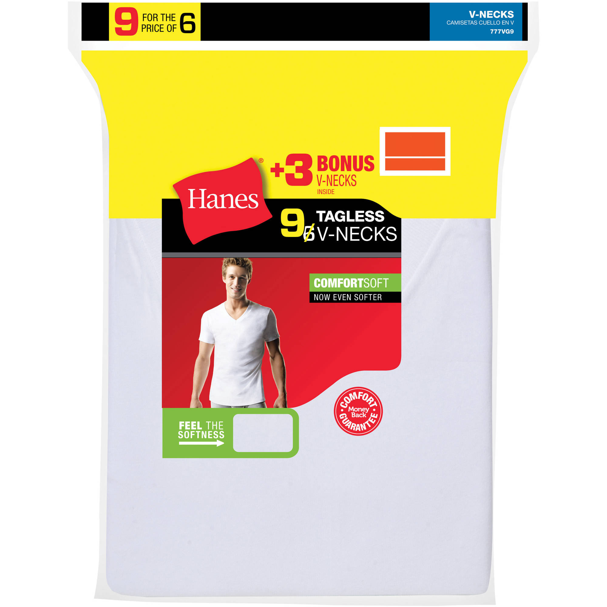 Hanes Men's ComfortSoft White V-Neck T-Shirt 6 + 3 Free Bonus Pack