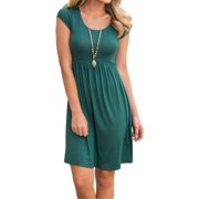 Nlife Women Short Sleeve Round Neck Simple Pleated Midi Dress