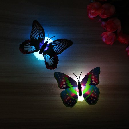 Fashion LED Glowing 3D Butterfly Night Light Sticker Art Design Mural Home Wall Decal  - image 4 of 12