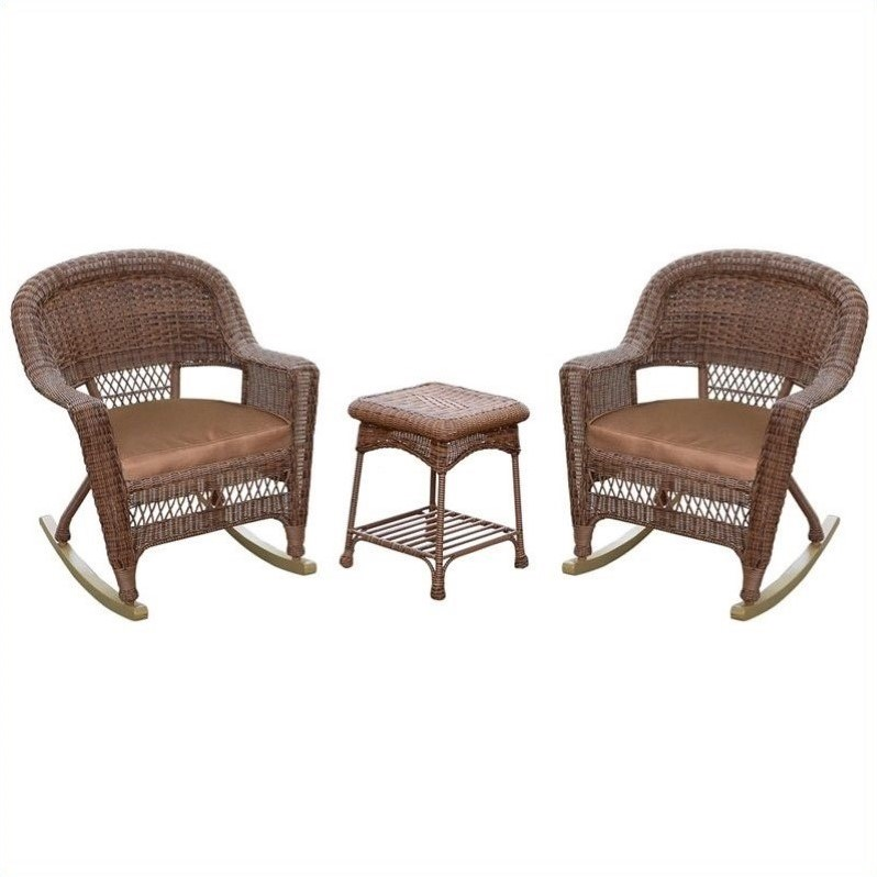 Jeco 3pc Wicker Rocker Chair Set in Honey with Brown Cushion