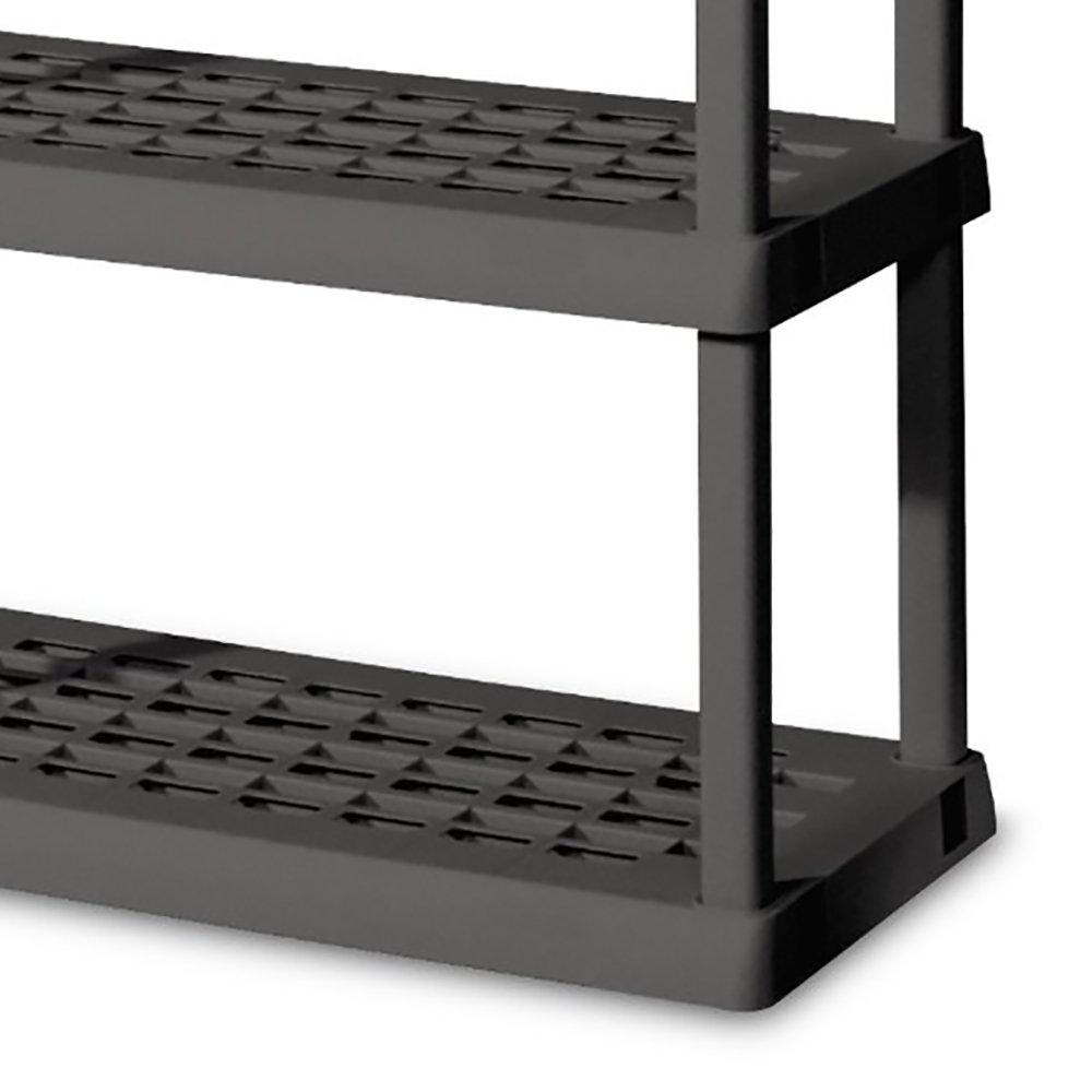 Sterilite 01553V01 5 Shelf Unit Flat Gray Shelves Legs 2 Pack with Cloth