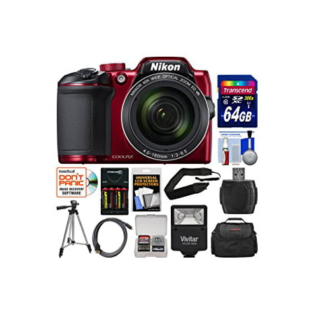 nikon coolpix b500 wi-fi digital camera (red) with 64gb card + case + flash + batteries & charger + tripod + strap + (Nikon Coolpix Wont Turn On Or Charge)