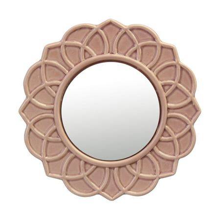 Stonebriar Decorative Round Pink Dusty Rose Floral Ceramic Wall Hanging Mirror