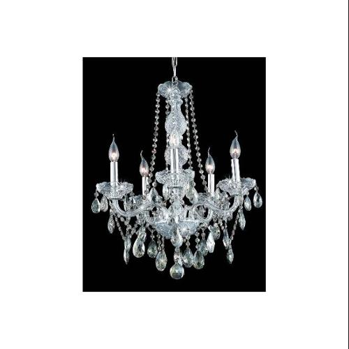 Verona Golden Teak Crystal Chandelier w 5 Lights in Chrome (Royal Cut)