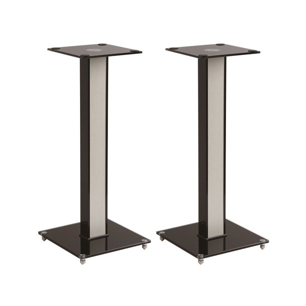 Monoprice Elements Speaker Stand - 23 Inch (Pair) With Cable Management, Strong Tempered Glass Base With Floor Spikes