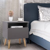 Jaxpety Nightstand Bedside Table Sofa End Table Bedroom Decor 1 Drawer Storage, Silver gray