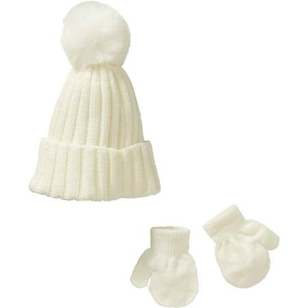 a57998bfed3c0 ONLINE - Newborn Baby Faux Fur Pom Pom Beanie with Gloves 2 Piece ...
