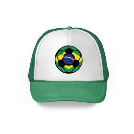 Awkward Styles Brazil Soccer Ball Hat Brazilian Soccer Trucker Hat Brazil 2018 Baseball Cap Brazil Trucker Hats for Men and Women Hat Gifts from Brazil Brazilian Baseball Hats Brazilian Flag Hat