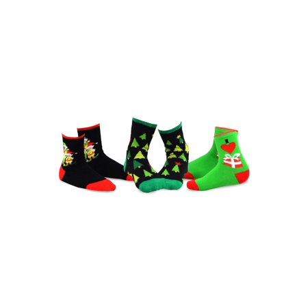 teehee christmas kids cotton fun crew socks 3 pair pack - Walmart Christmas Socks
