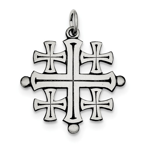 Sterling Silver Antiqued Jerusalem Cross Pendant