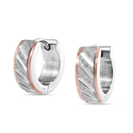 Two Tone Diagonal Carved Sandblasted Matte Huggie Earrings For Men Or Women Silver Tone Rose Gold Tone Stainless Steel