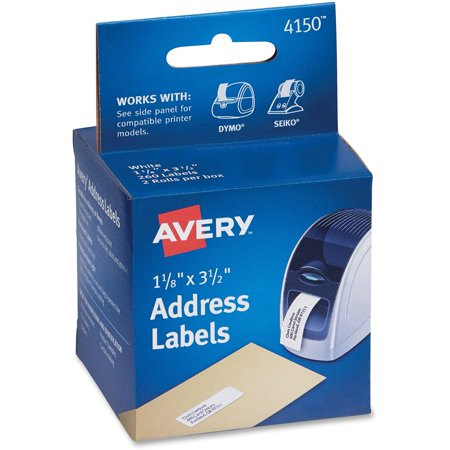 avery thermal printer address labels 1 1 8 x 3 1 2 white 130 roll