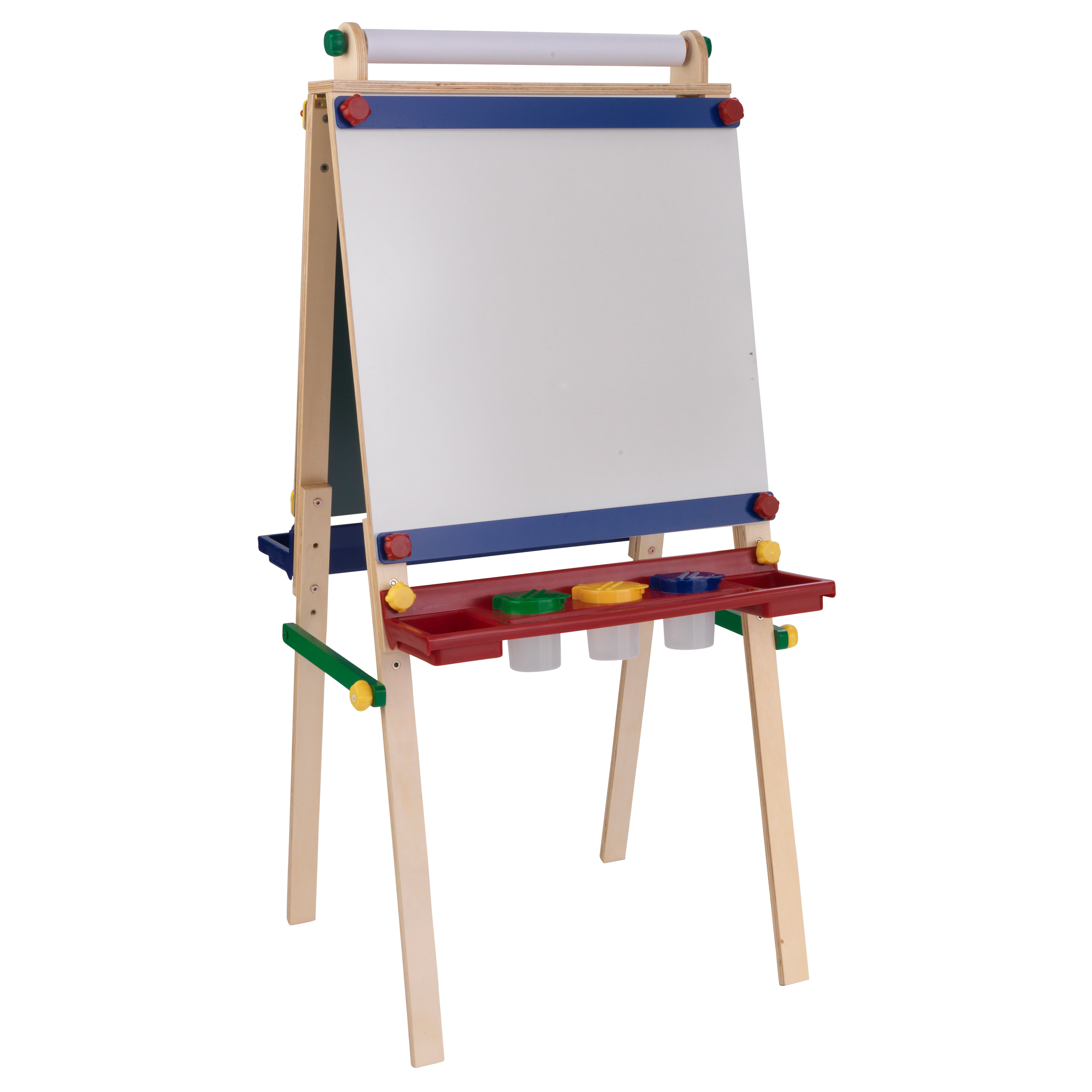 KidKraft Wooden Artist Easel with Paper Roll with Paper Roll, Three Plastic Paint CUps and Two Storage Trays