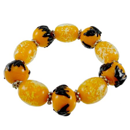 Halloween Bead Bracelet (Halloween BATS STRETCH BRACELET Glass Glass Beads 64951)