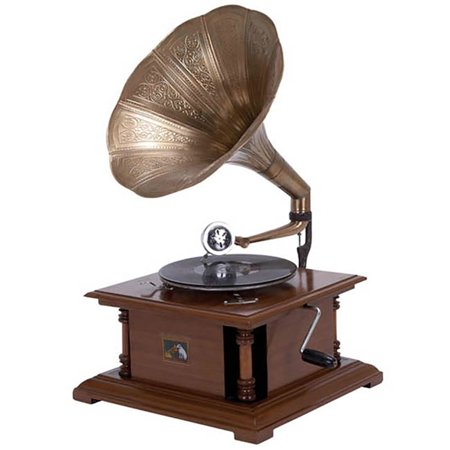 Urban Designs Antique Replica RCA Victor Phonograph Gramophone with Large Engraved Brass Horn