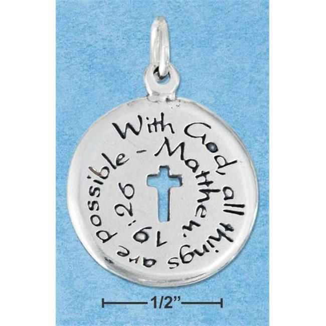 Sterling Silver Two Sided with God All Things Are Possible Matthew 19:26 Inch Charm