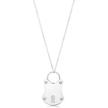 "Sterling Silver Vintage Lock Necklace, 18"""