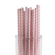 Pink Chevron Paper Straws (2Dz) - Party Supplies - 24 Pieces