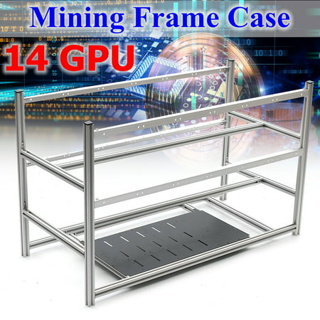14 GPU Mining Rig Aluminum Case Open Air Computer Crypto Coin Frame Silver with 20 fans (Optional without fan) - image 6 de 6