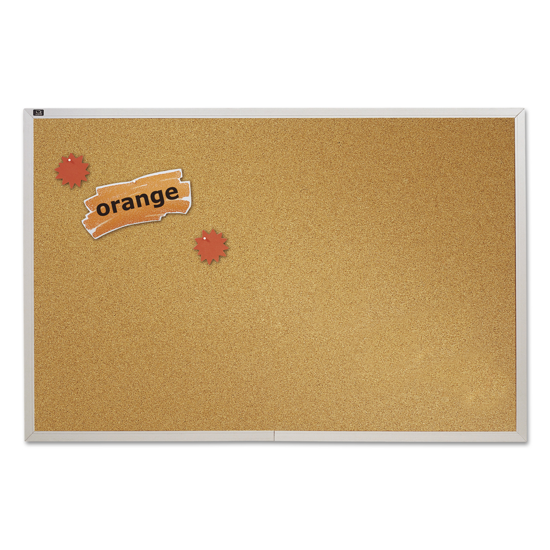 "Quartet Natural Cork Bulletin Board, 72"" x 48"", Anodized Aluminum Frame"