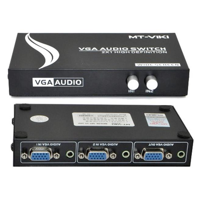 IKKEGOL 10014 2 Port VGA Audio Video Switch 2 x 1 SVGA Switcher Box 2 IN 1 OUT PC Monitor LCD TFT Sharing