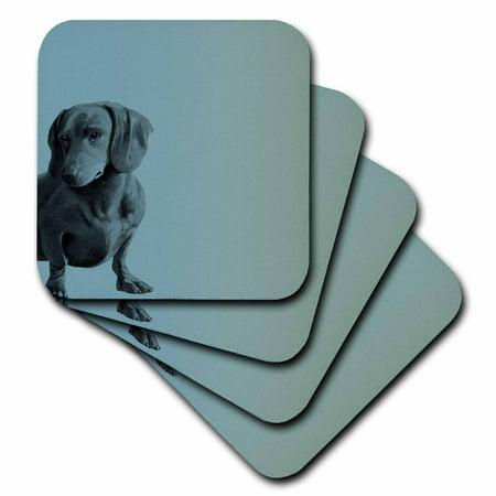 3dRose Adorable Daschund Dog pets animals , Ceramic Tile Coasters, set of 4