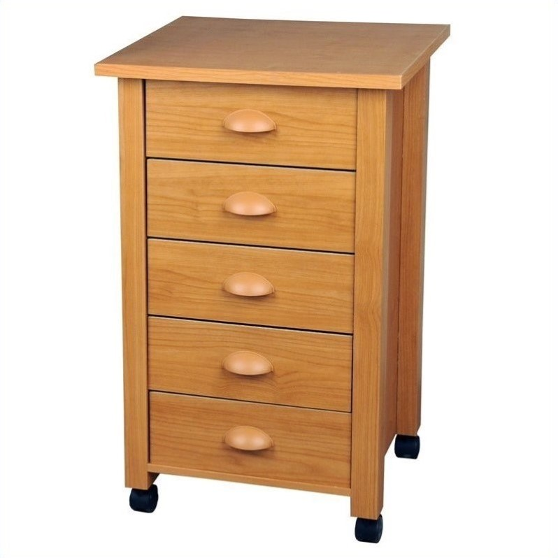 Venture Horizon 5 Drawer Wood Mobile Filing Cabinet in Oak