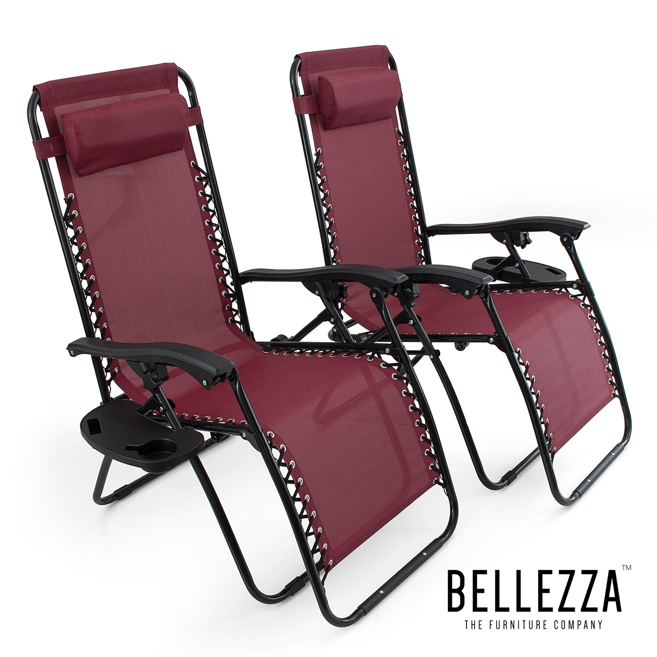 BELLEZE Burgundy Anti Gravity Chairs Set of 2 Adjustable Reclining Utility Tray Cup Holder Mobile Phone Slot