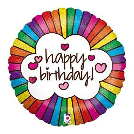 18in Happy Birthday Retro Rainbow Holographic Balloon, - Retro Happy Birthday