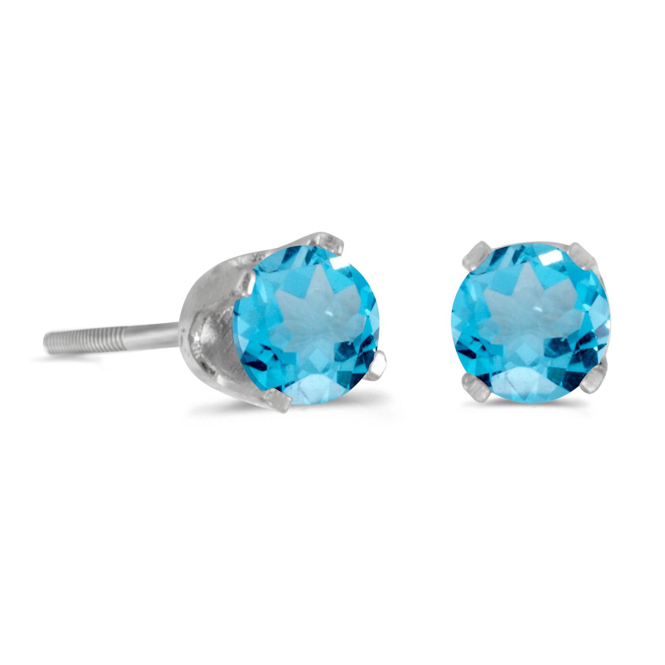 14k White Gold Round Blue Topaz Screw-back Stud Earrings