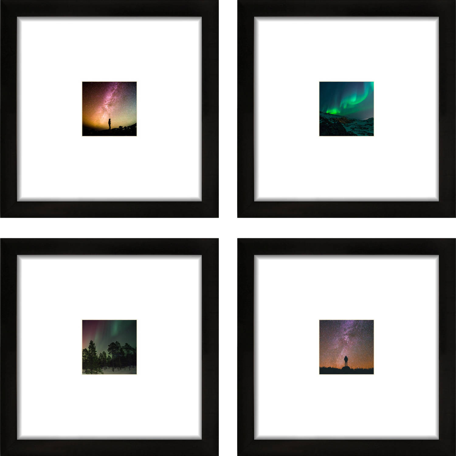 Craig Frames 12x12 Black Picture Frame, Smartphone Collection, Single White Mat with 4x4 Square Opening, Set of 4