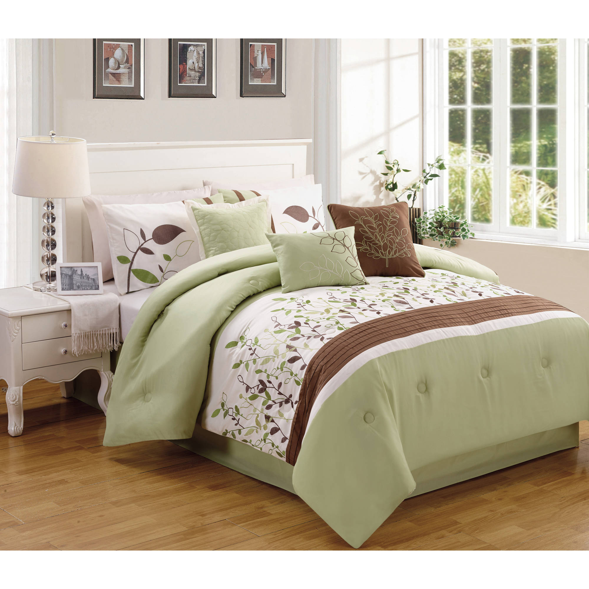 Better Homes and Gardens 7-Piece Sage & Brown Vines Bedding Comforter Set