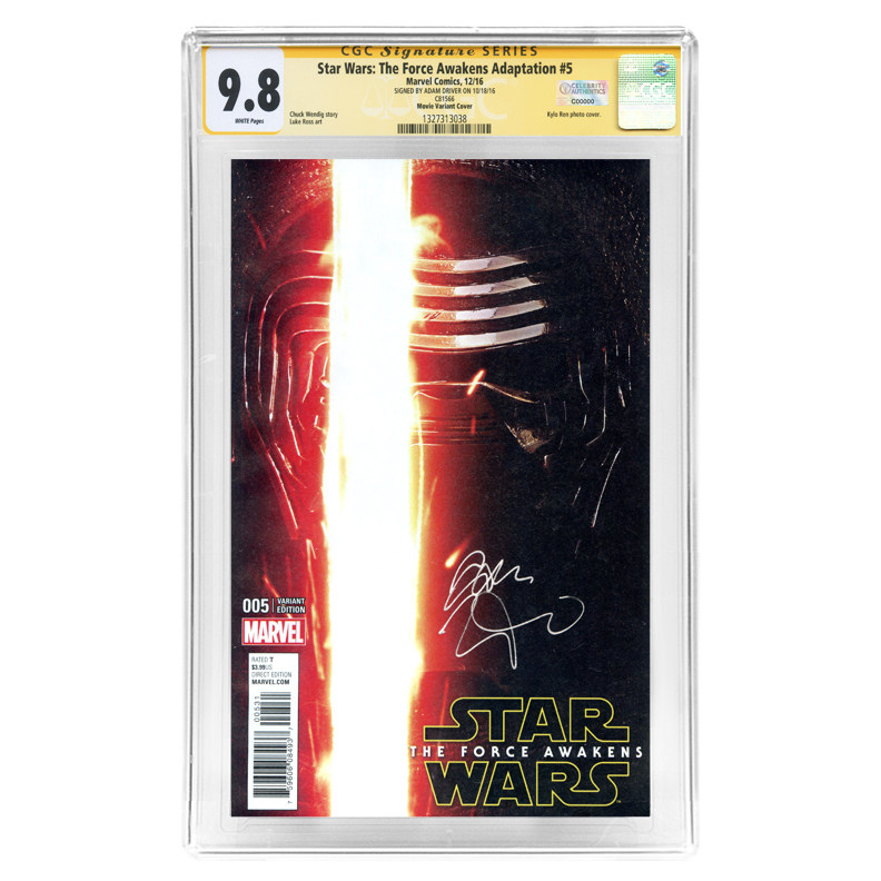 Adam Driver Autographed Star Wars: The Force Awakens #005 CGC SS 9.8 Variant Cover