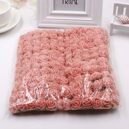 144Pcs Mini Foam Rose Heads for DIY Bride Bouquet Wedding Wreath Decor Artificial Flower Handcraft Color:Fresh Pink