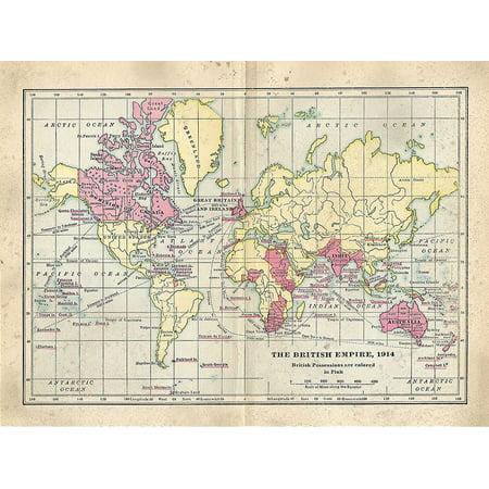 Vintage British Empire Map Poster Print by Ramona