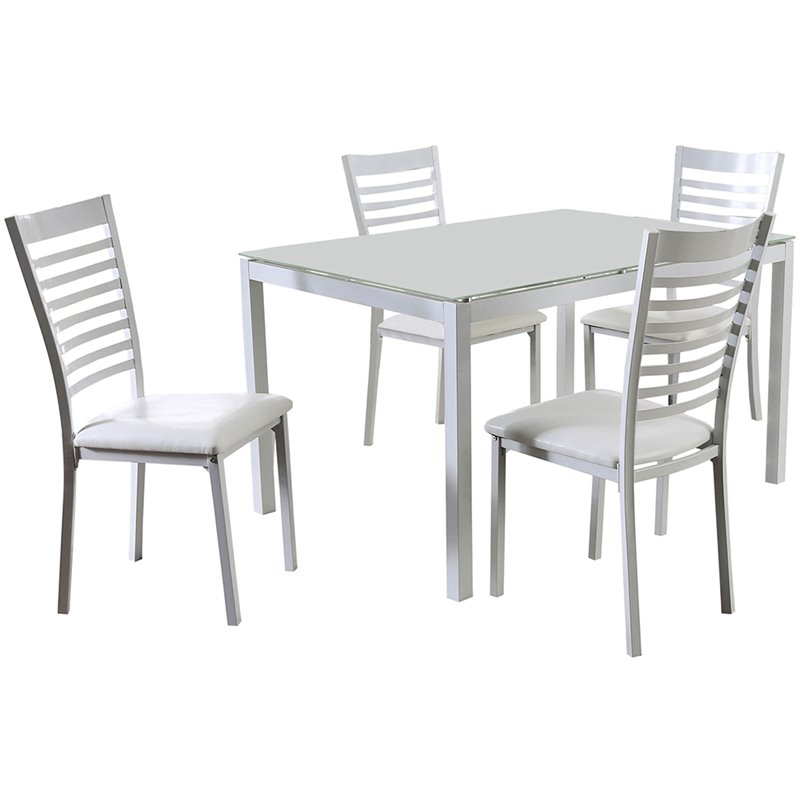 Bon Furniture Of America Torrance 5 Piece Glass Top Dining Set In White