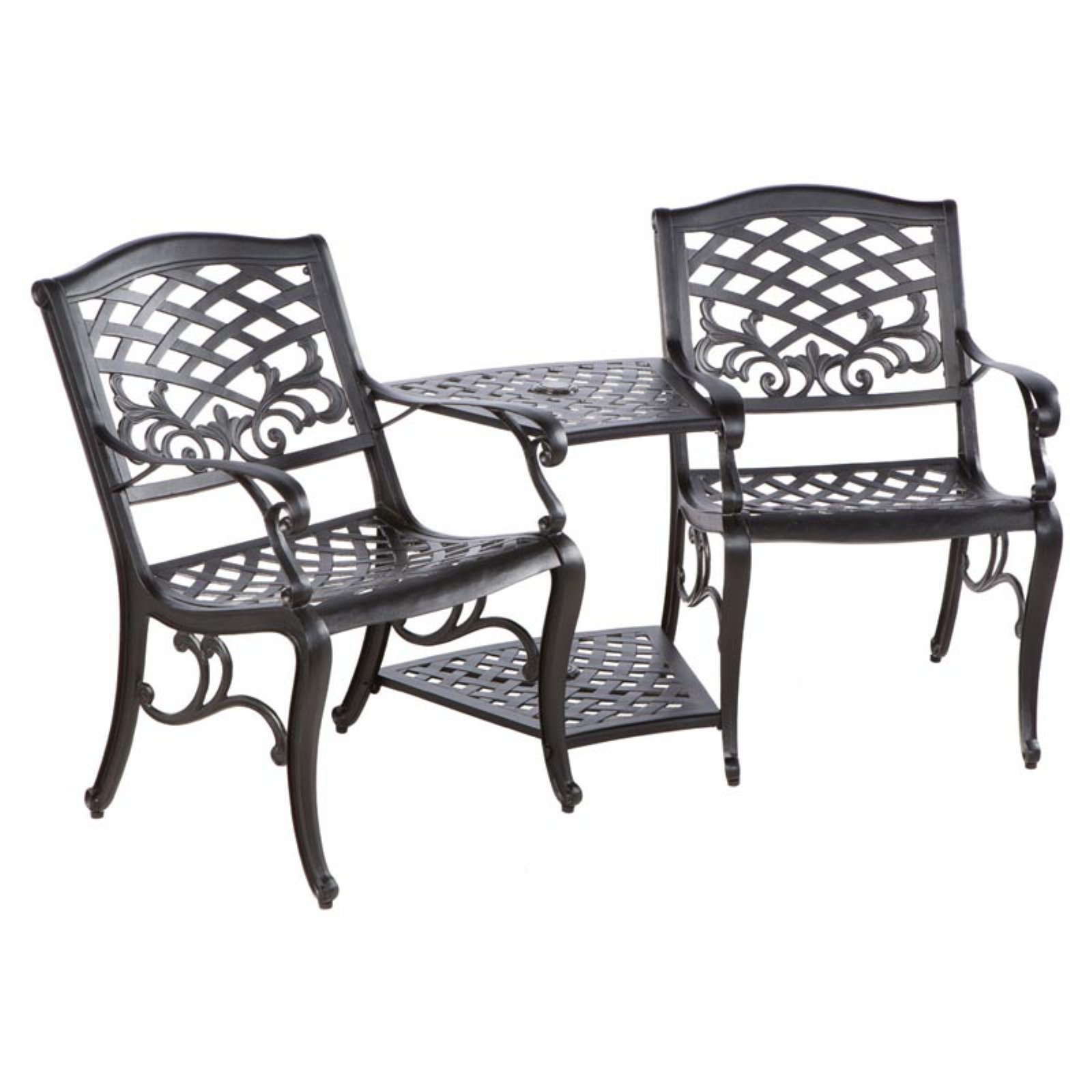 Alfresco Tete-a-Tete Cast Aluminum 38 in. Bench with Umbr...